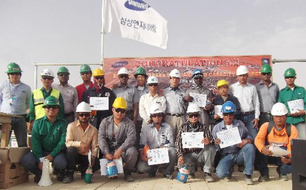120 million accident free man hours  celebration event picture  at Shaybah Gas & Oil Project in Saudi Arabia
